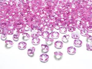 Rosa diamantkonfetti, 12 mm/st, 100 st