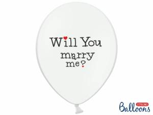"Ballong, vit, ""Will you marry me?"", ca 30 cm. (6 st)"