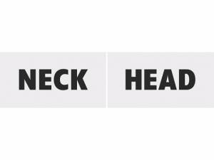 "Plakat med text ""Head"" och ""Neck"" , ca 30 x 15 cm"