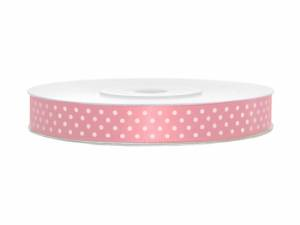 Satinband, Rosa med vita prickar, 12 mm ( 25 m)
