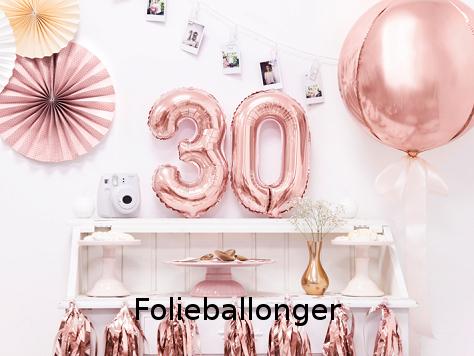 Folieballonger i olika former och färger